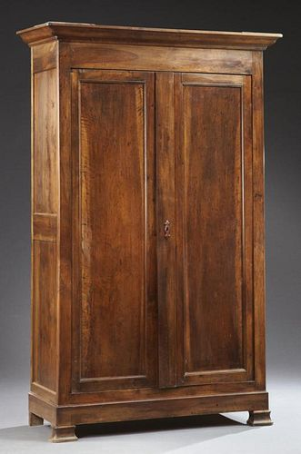 French Louis Philippe Carved Cherry Double Door Ar