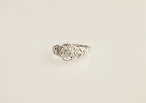 Lady's 18K White Gold Dinner Ring, with a 1.63 car