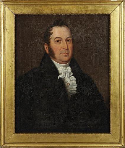"""British School,ÿ""""Portrait of a Gentleman in a Whit"""