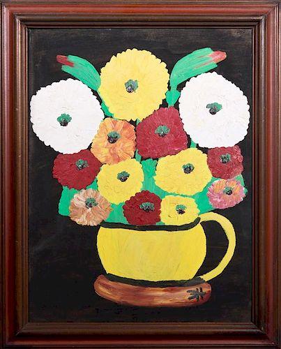 "Clementine Hunter (1886-1987), ""Zinnias in a Yello"