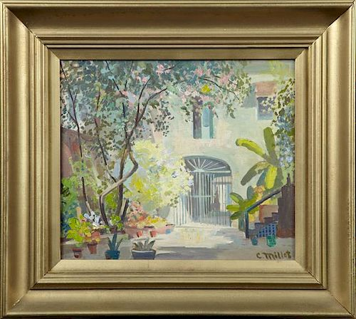 """Clarence Millet (1897-1959), """"French Quarter Patio"""