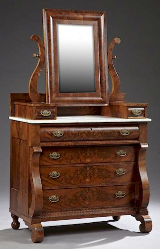 American Classical Carved Mahogany Marble Top Dres