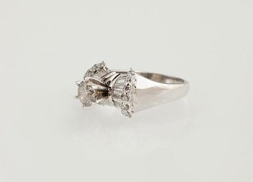 Lady's 14K White Gold Dinner Ring, with a prong se