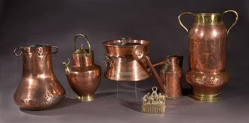 Group of Seven French Provincial Metal Items, 19th
