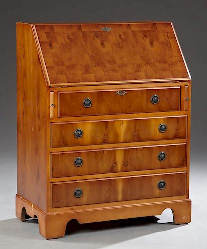 French Carved Cherry Slant Front Secretary, 20th c