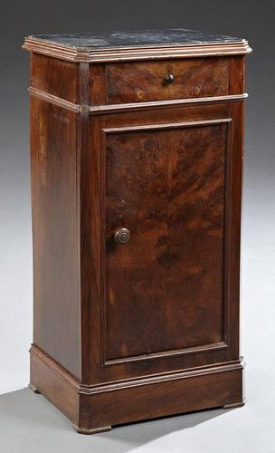 Louis Philippe Carved Walnut Marble Top Nightstand