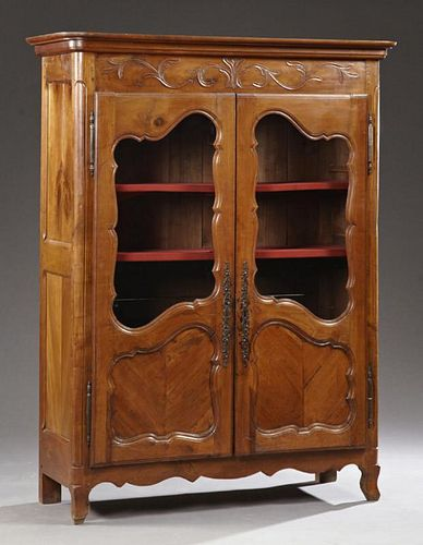 French Louis XV Style Carved Cherry Bookcase, late