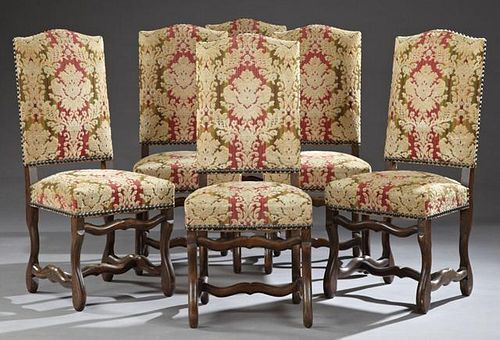 Set of Eight Louis XIII Style Carved Beech Upholst