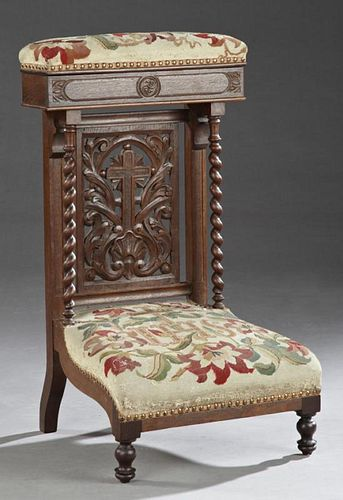 French Carved Oak Prie Dieu, c. 1870, the needlepo