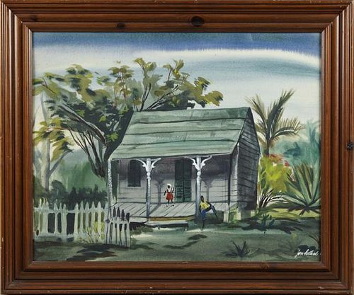 "Jon Holland, ""Southern Porch Scene,"" 20th c., wate"