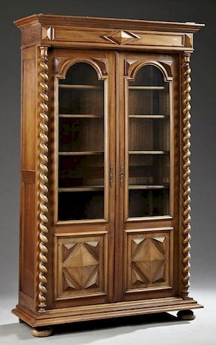 French Louis XIII Style Carved Walnut Bookcase, ea
