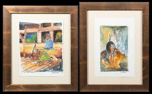 "Wazniak, ""Indian Brave,"" and ""Woman Basket Weaver,"