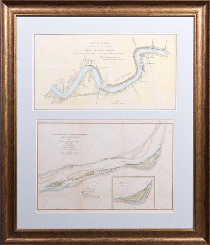 Two Corps of Engineers Colored Maps, 19th c., of ""