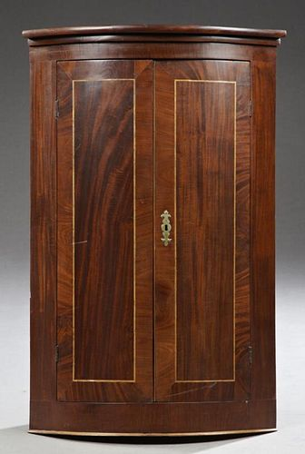 English Inlaid Mahogany Hanging Corner Cabinet, 19