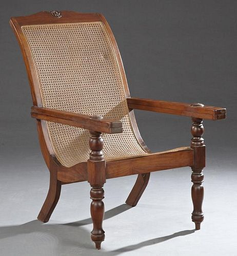Carved Mahogany Planter's Chair, 20th c., Indonesi