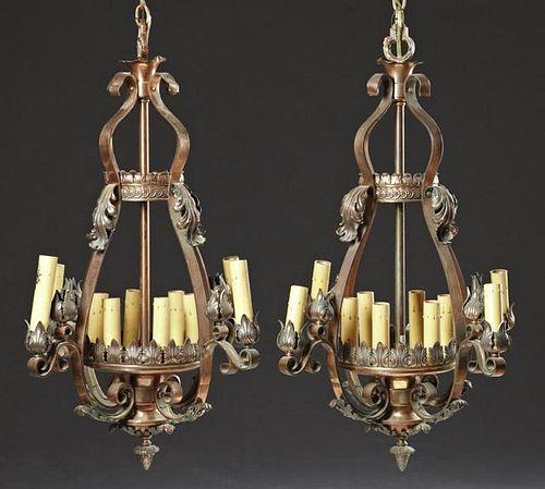 Pair of Copper Ten Light Chandeliers, 20th c., of