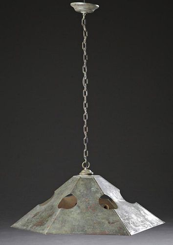 Arts and Crafts Style Hexagonal Copper Hanging Lig
