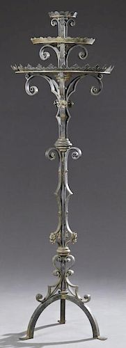 Large French Wrought Iron Medieval Style Candle St