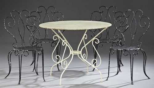 Five Piece Wrought Iron Bistro Set, early 20th c.,