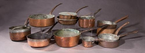 Fourteen Pieces of French Copper Cookware, 19th c.