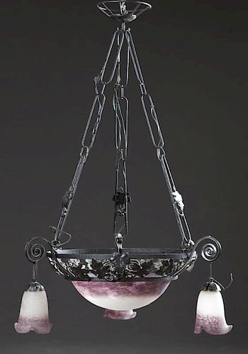 Wrought Iron Pate de Verre Art Glass Chandelier, e
