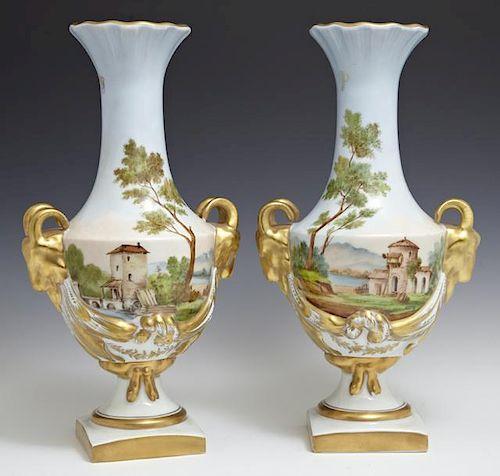 Pair of Limoges Porcelain Baluster Vases, 20th c.,