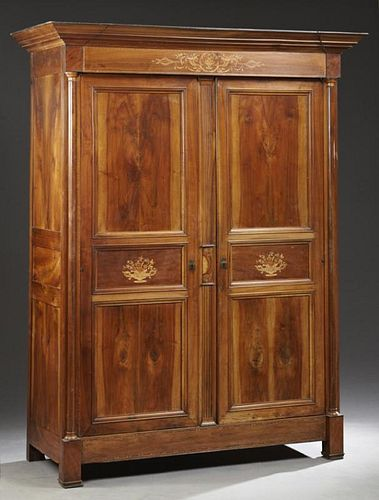 French Charles X Marquetry Inlaid Walnut Armoire,