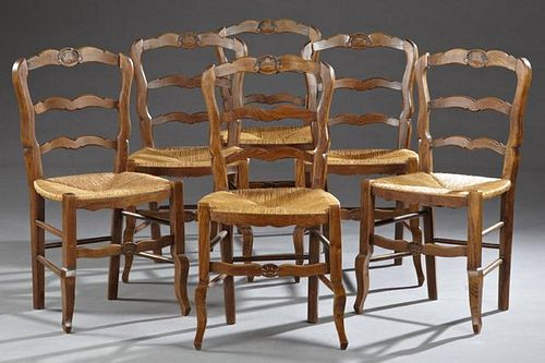 Set of Six French Carved Beech Rushseat Dining Cha