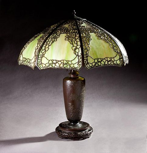 Handel Bronze Patinated Spelter Chinese Style Lamp