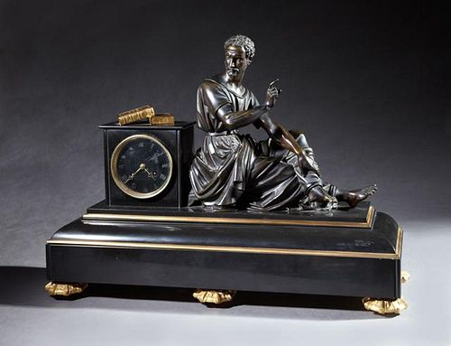 Impressive Bronze and Black Marble Figural Mantel