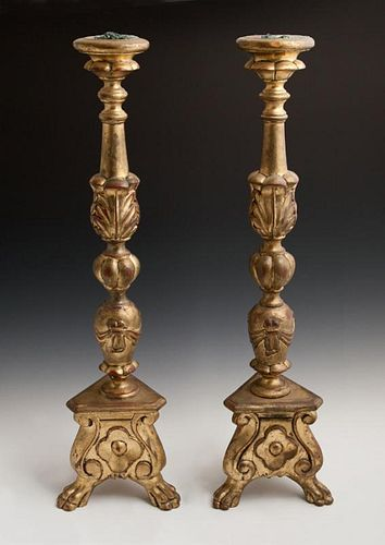 Pair of Italian Style Carved Giltwood Pricket Cand