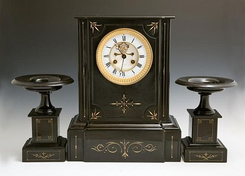 French Three Piece Black Marble Clock Set, c. 1870