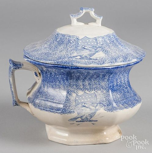Blue spatter chamber pot with transfer eagle decoration, 9 1/2'' h., 9'' w.