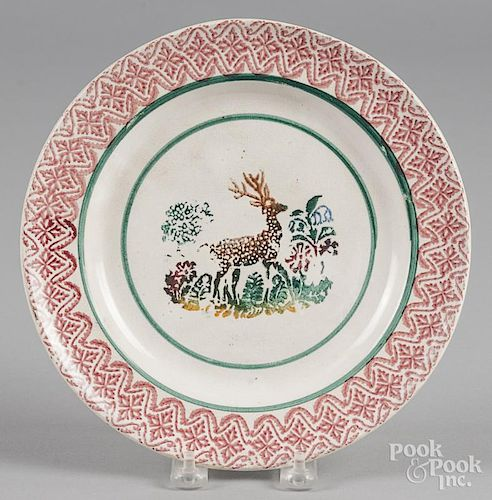Red stick spatter plate with stag decoration, 9 1/8'' dia.