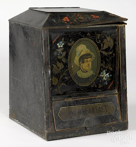 New York painted tin tea bin, late 19th c., by S. A. H. Sley, Brooklyn, 15 1/2'' h., 12'' w.
