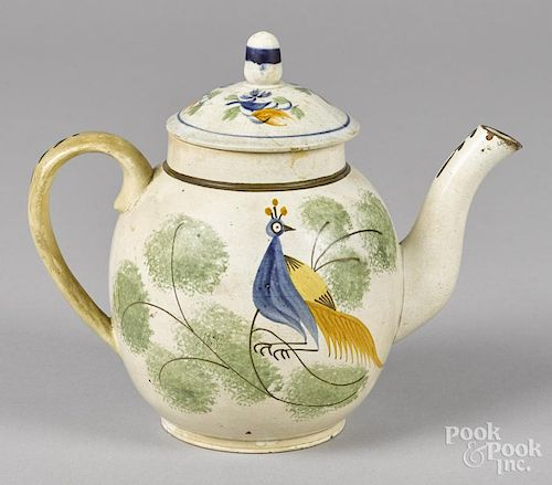 English pearlware teapot, 19th c., with peafowl decoration, 7'' h.
