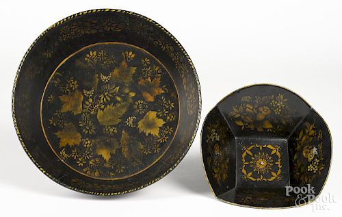 Two toleware bowls with stenciled floral decoration
