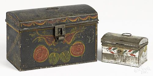 Two toleware dome lid boxes, 19th c., 5 1/2'' h., 8 1/2'' w. and 2 5/8'' h., 4 1/4'' w.