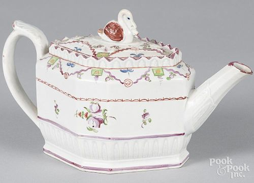 English pearlware teapot, 19th c., with a swan finial, 5 1/2'' h.