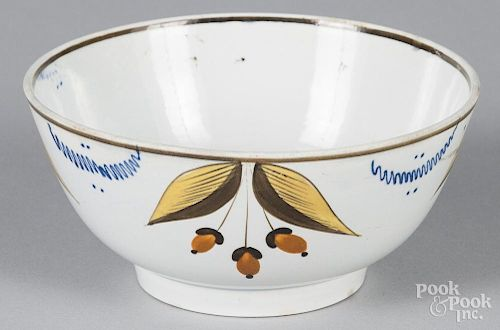 English pearlware waste bowl, 19th c., with acorn decoration, 2 3/4'' h., 6'' dia.