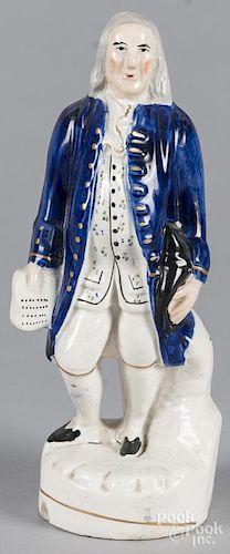 Staffordshire figure of Ben Franklin, 9 1/2'' h.