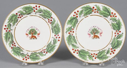 Pair of Worcester armorial plates, 19th c., 8 3/8'' dia.