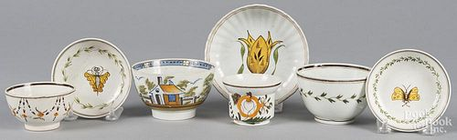 Seven pieces of pearlware teawares, 19th c.