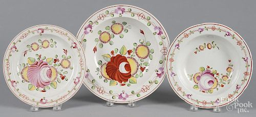 Two Queens Rose pearlware soup bowls, 8 1/4'' dia., together with a plate, 10'' dia.