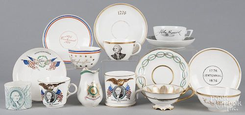 Centennial and commemorative patriotic china, to include a child's mug