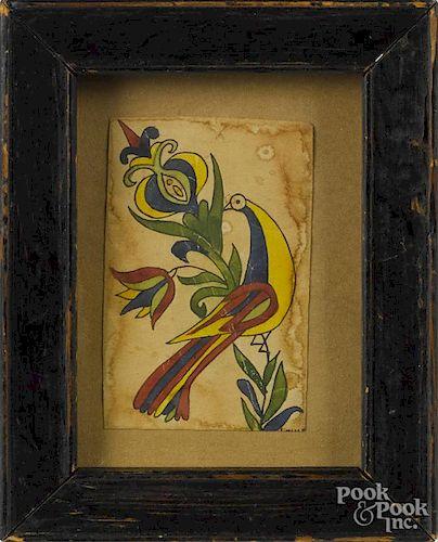 Contemporary miniature watercolor fraktur, 2 3/4'' x 1 3/4''.