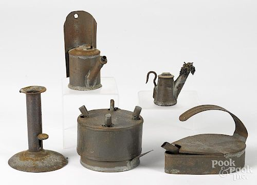 Five pieces of tin lighting, 19th c.