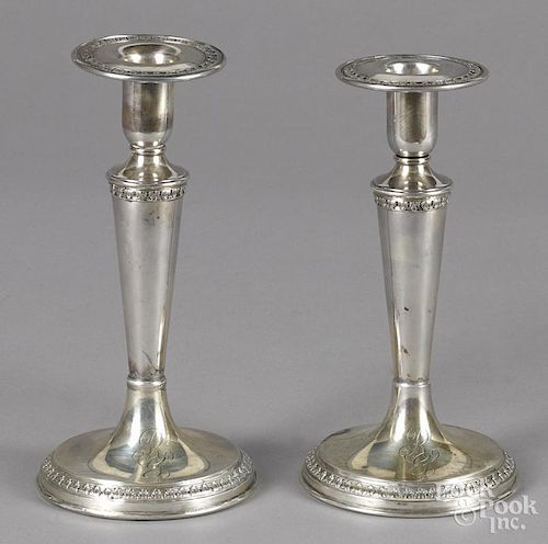 Pair of sterling silver weighted candlesticks, 7 1/2'' h.