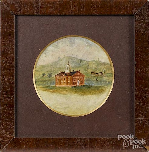 Pennsylvania gouache drawing of a state house, signed Indiana PA 1861