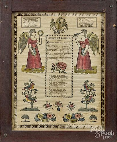 Baltimore printed and hand colored fraktur, dated 1834, by Hanzsche, 14 1/2'' x 11 1/4''.